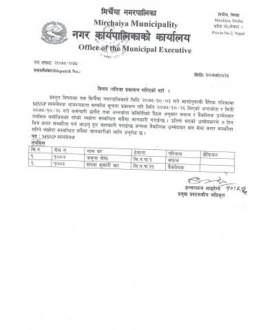 MSNP Vacancy Result Published